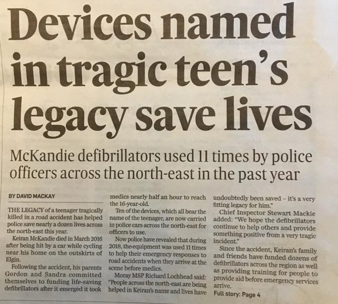 Keiran's Legacy Defibrillators save lives