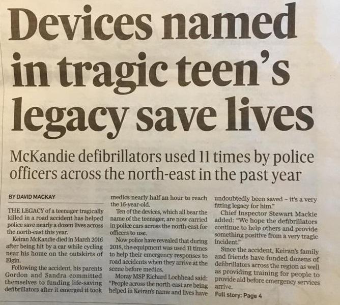 Keiran's Legacy Defibrillators save lives
